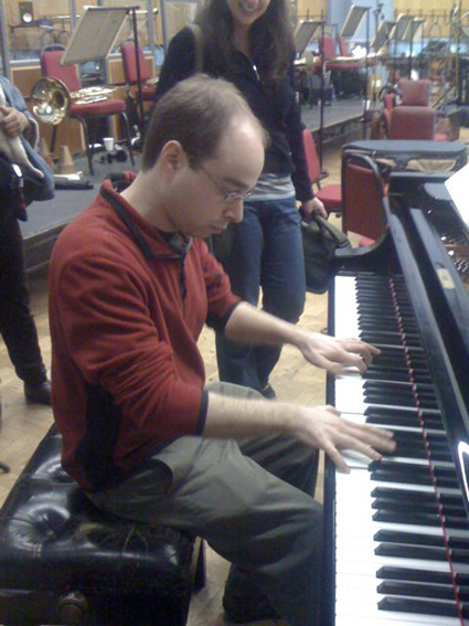 Evan playing piano at Abbey Road