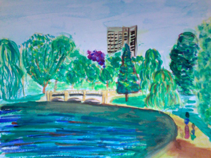 hyde park serpentine watercolor