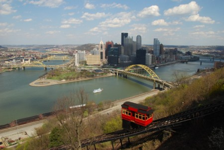 The Duquesne Incline, with Downtown Pittsburgh in the background