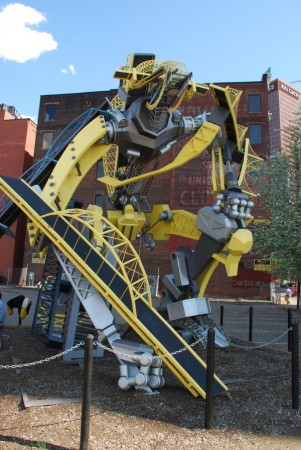 One of the most delightful things I cam across in Downtown Pittsburgh: A transformer/robot sculpture made of models of Pittsburgh's bridges