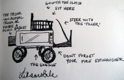 "My doodle of the steam-powered ""Likamobile"""