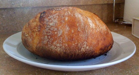 No-knead bread trial #1 -- a little burnt on the bottom