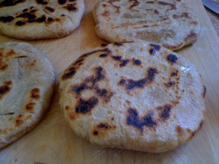 The first few flatbreads got a little dark, but still tasted good
