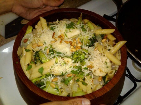 Sicilian Broccoli and Cauliflower Pasta topped with parmesan and ...