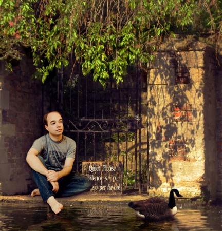 The original portrait I created by compositing Evan, a Goose and a background that I took in Cambridge while punting