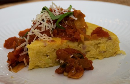 Polenta torta with roasted tomato sauce