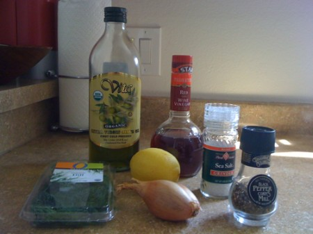 The simple ingredients (minus tofu and avocado) that give flavor to the tofu fillets and avocado salsa