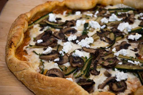 Mushroom and Zucchini Pizza