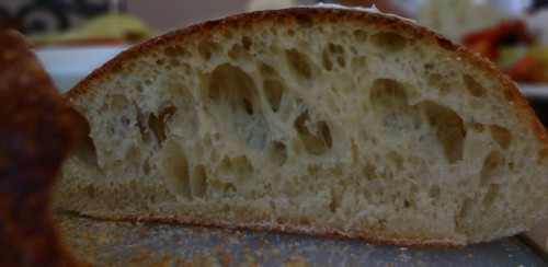 The amazing inside of the sweet rustic bread