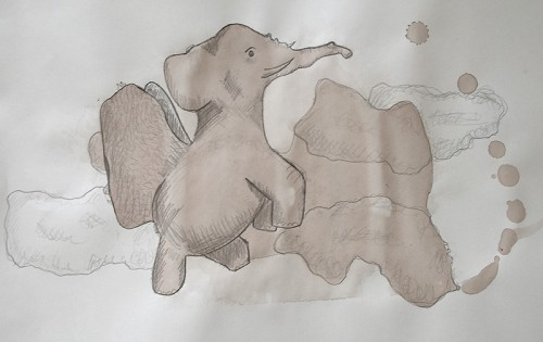 Stain Drawing - Elephant